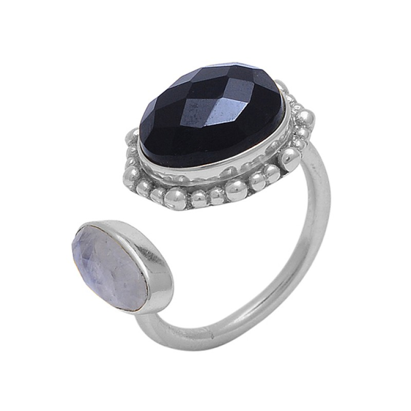 Black Onyx Moonstone 925 Sterling Silver Jewelry Gold Plated Wholesale Ring