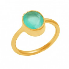 Handmade 925 Sterling Silver Aqua Chalcedony Gemstone Gold Plated Ring Jewelry