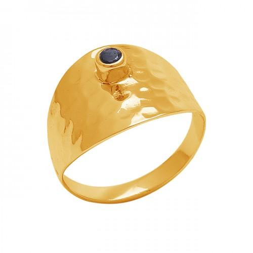 Hammered Designer Round Shape Black Onyx Gemstone Gold Plated Ring