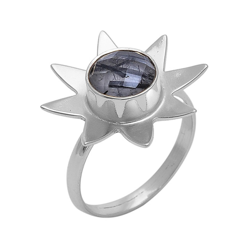 Round Shape Black Rutile Quartz Gemstone 925 Silver Jewelry Ring