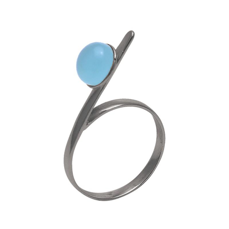 Round Shape Aqua Chalcedony Gemstone 925 Sterling Silver Jewelry Ring