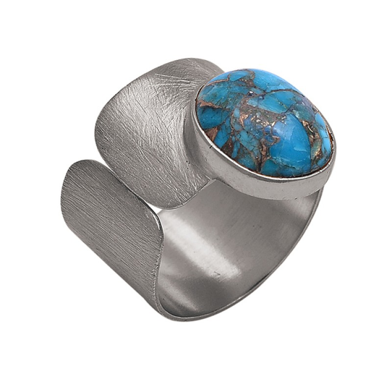 Oval Shape Blue Copper Turquoise Gemstone 925 Silver Jewelry Ring