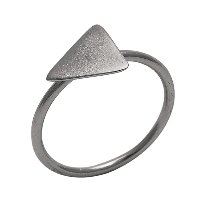 Triangle Shape Plain Handmade Designer 925 Silver Jewelry Gold Plated Ring