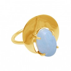 925 Sterling Silver Jewelry Oval Aquamarine Gemstone Gold Plated Ring