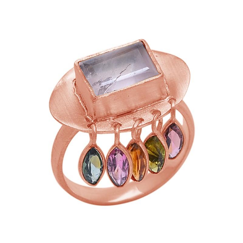 Peridot Garnet Rose Quartz Gemstone 925 Sterling Silver Jewelry Ring