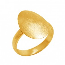 Plain Handmade Designer 925 Silver Jewelry Gold Plated Ring