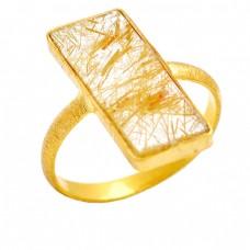 925 Sterling Silver Golden Rutile Quartz Rectangle Shape Gemstone Ring Jewelry