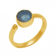 Round Shape Apatite Gemstone 925 Sterling Silver Jewelry Gold Plated Ring