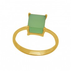 Square Shape Prehnite Chalcedony  Gemstone 925 Sterling Silver Jewelry Gold Plated Ring