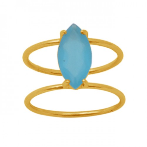 Marquise Shape Blue Chalcedony  Gemstone 925 Sterling Silver Jewelry Gold Plated Ring