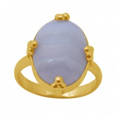 Oval Shape Blue Lace Agate  Gemstone 925 Sterling Silver Jewelry Gold Plated Ring