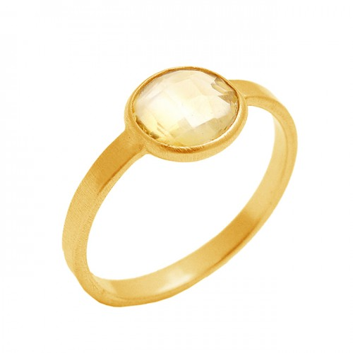 Oval Briolette Citrine Gemstone Lite Weight 925 Sterling Silver Gold Plated Handmade Ring Jewelry