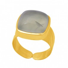 Cushion Shape Prehnite  Gemstone 925 Sterling Silver Jewelry Gold Plated Ring