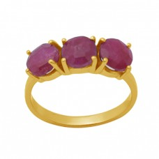 Round Shape Ruby   Gemstone 925 Sterling Silver Jewelry Gold Plated Ring