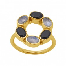 Oval Shape Moonstone Onyx  Gemstone 925 Sterling Silver Jewelry Gold Plated Ring