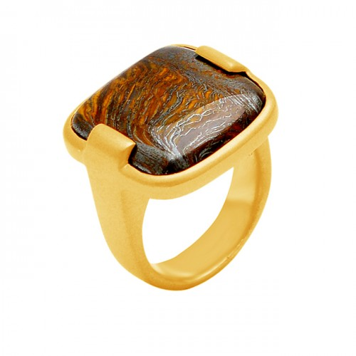 Iron Tiger Eye Cushion Shape Gemstone 925 Sterling Silver Gold Plated Ring Jewelry