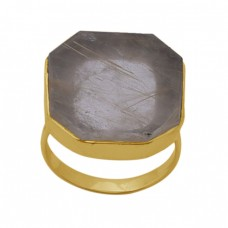 Fancy  Shape Golden Rutile Quartz  Gemstone 925 Sterling Silver Jewelry Gold Plated Ring