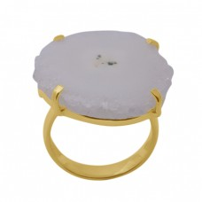 Fancy Shape Solar Quartz   Gemstone 925 Sterling Silver Jewelry Gold Plated Ring