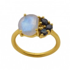 Fancy Round  Shape  Moonstone Onyx Gemstone 925 Sterling Silver Jewelry Gold Plated Ring