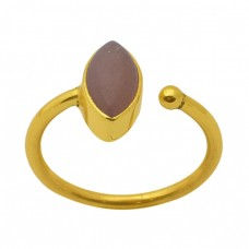 Marquoise Shape Moonstone Gemstone 925 Sterling Silver Jewelry Gold Plated Ring