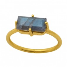 Rectangle  Shape Labradorite   Gemstone 925 Sterling Silver Jewelry Gold Plated Ring