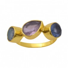 Oval Pear Round Shape Tanzanite Quartz Labradorite   Gemstone 925 Sterling Silver Jewelry Gold Plated Ring