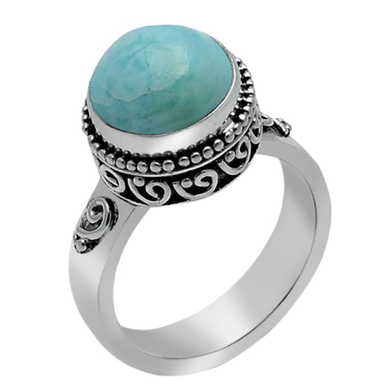 Blue Larimar Round Cabochon Shape Gemstone 925 Sterling Silver Ring Jewellery