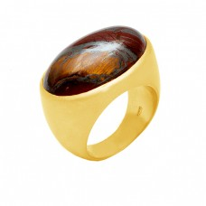 Oval Shape Iron Tiger Eye Gemstone 925 Sterling Silver Gold Plated Ring Jewelry