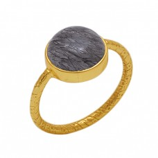 Round Shape Black Rutile Quartz  Gemstone 925 Sterling Silver Jewelry Gold Plated Ring