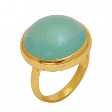 Round  Shape Prehnite Chalcedony   Gemstone 925 Sterling Silver Jewelry Gold Plated Ring
