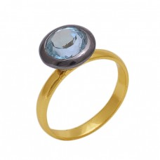 Round  Shape Blue Topaz   Gemstone 925 Sterling Silver Jewelry Gold Plated Ring