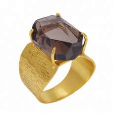 Cushion Shape Smoky Quartz   Gemstone 925 Sterling Silver Jewelry Gold Plated Ring
