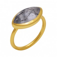 Marquise Shape Black Rutile Quartz  Gemstone 925 Sterling Silver Jewelry Gold Plated Ring