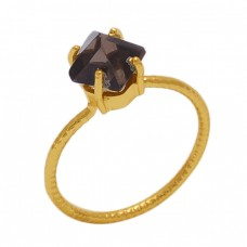 Fancy   Shape Smoky Quartz  Gemstone 925 Sterling Silver Jewelry Gold Plated Ring