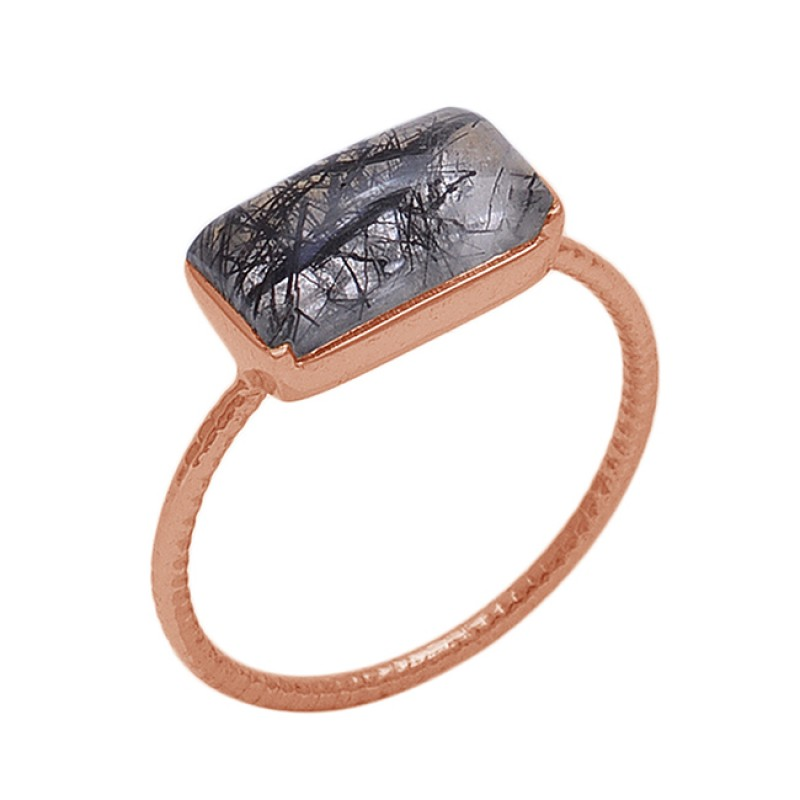 Rectangle  Shape Black Rutile Quartz  Gemstone 925 Sterling Silver Jewelry Gold Plated Ring
