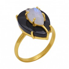 Pear Round  Shape Moonstone Onyx Zicroina Gemstone 925 Sterling Silver Jewelry Gold Plated Ring