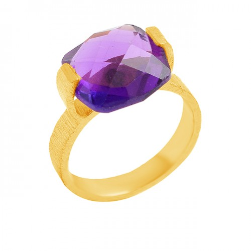 Purple Amethyst Briolette Cushion Gemstone Handmade Designer 925 Sterling Silver Gold Plated Ring