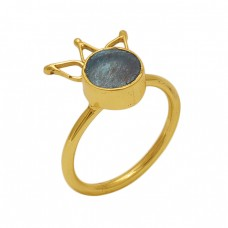 Round  Shape Labradorite   Gemstone 925 Sterling Silver Jewelry Gold Plated Ring