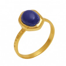 Oval Shape Sapphire  Gemstone 925 Sterling Silver Jewelry Gold Plated Ring