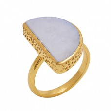 Fancy  Shape  Moonstone  Gemstone 925 Sterling Silver Jewelry Gold Plated Ring