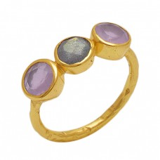 Round Shape Chalcedony  Labradorite  Gemstone 925 Sterling Silver Jewelry Gold Plated Ring
