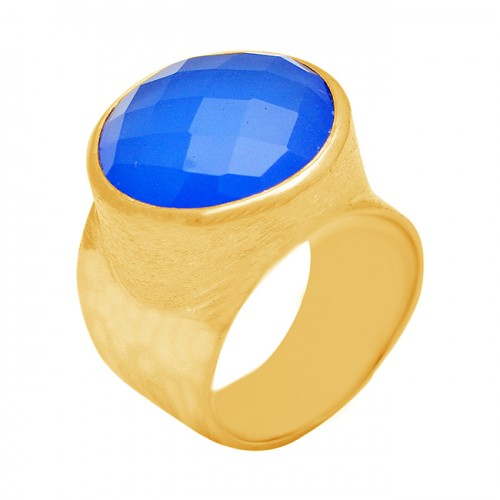 Round Shape Blue Chalcedony Gemstone 925 Sterling Silver Gold Plated Ring Jewelry
