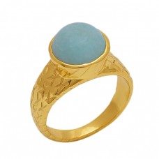 Round  Shape  Aqua Chalcedony Gemstone 925 Sterling Silver Jewelry Gold Plated Ring
