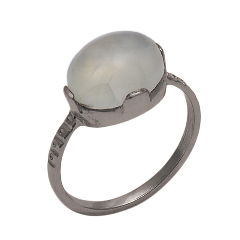 Oval   Shape Prehnite  Gemstone 925 Sterling Silver Jewelry Gold Plated Ring