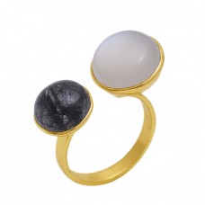 Round  Shape Black Rutile  Rainbow  Moonstone  Gemstone 925 Sterling Silver Jewelry Gold Plated Ring