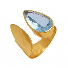 Pear Shape  Blue Topaz  Gemstone 925 Sterling Silver Jewelry Gold Plated Ring
