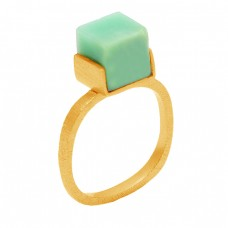 Handmade Aquamarine Box Square Shape Gemstone 925 Sterling Silver Gold Plated Ring Jewelry