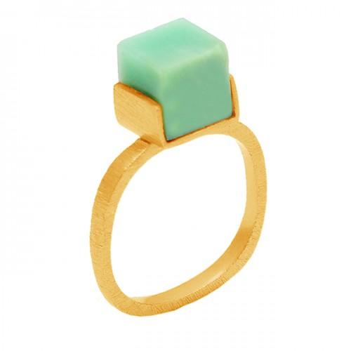 Handmade Aquamarine Box Square Shape Gemstone 925 Sterling Silver Gold Plated Ring Jewelry