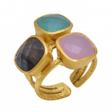 Square   Shape Labradorite Aqua Chalcedony Rose Chalcedony   Gemstone 925 Sterling Silver Jewelry Gold Plated Ring