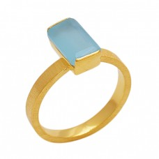 Rectangle   Shape Aqua Chalcedony   Gemstone 925 Sterling Silver Jewelry Gold Plated Ring